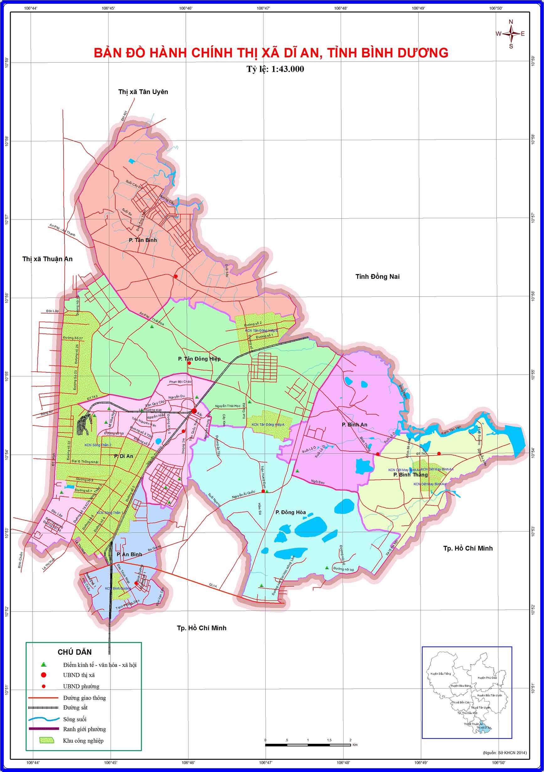 Bản đồ hành chính Thành phố Dĩ An Bình Dương