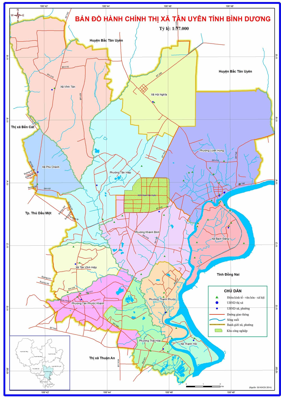 Bản đồ hành chính Thị xã Tân Uyên Bình Dương