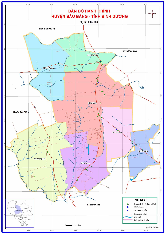 Bản đồ hành chính huyện Bàu Bàng Bình Dương