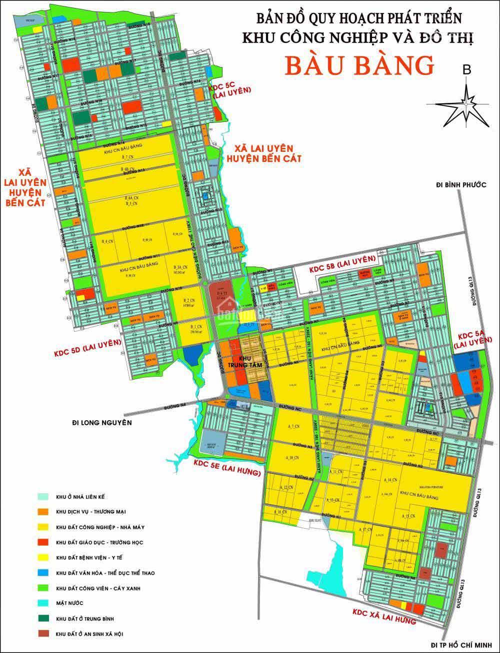 Bản đồ khu công nghiệp và đô thị Bàu Bàng Bình Dương